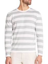 Saks Fifth Avenue Linen And Cotton Striped Crewneck Sweater White Grey