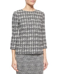 St. John Abstract Houndstooth Novelty Tweed Top