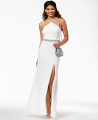 B. Darlin Say Yes To The Prom Juniors' Embellished Side Slit Gown A Macy's Exclusive Style Off White