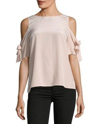 Tahari By Arthur S. Levine Cold Shoulder Silk Blouse Lilac