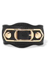 Balenciaga Metallic Edge Textured Leather And Gold Tone Bracelet Black