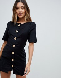 Finders Keepers Pompeii Button Up Mini Dress Black