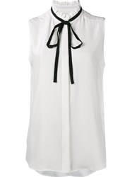 Frame Denim Sleeveless Ribbon Neckline Blouse White