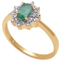 A B Davis 9Ct Yellow Gold Emerald And Diamond Cluster Engagement Ring