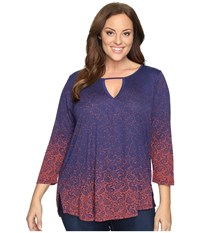 Lucky Brand Plus Size Gradiant Printed Top Navy Multi Women's Clothing Blue