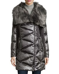 Via Spiga Long Faux Fur Collar Quilted Puffer Coat Gunmetal
