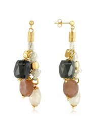 Daco Milano Gemstone And Sterling Silver Drop Earrings Gold