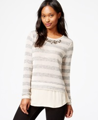 Maison Jules Embellished Metallic Layered Sweater Only At Macy's
