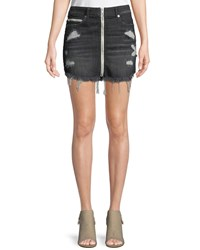 True Religion High Rise Front Zip Skirt With Destroy Black