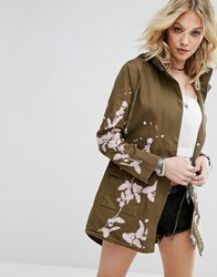 Missguided Embroidered Lightweight Parka Khaki Green