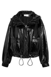 Wanda Nylon Hooded Textured Vinyl Jacket Black