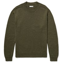 Margaret Howell Linen And Merino Wool Blend Sweater Army Green
