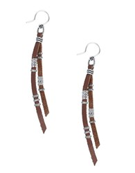 Chan Luu Sterling Silver Drop Earrings Brown