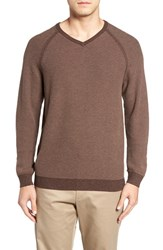 Tommy Bahama Men's 'Make Mine A Double' Reversible Pima Cotton V Neck Sweater Dark Nubuck