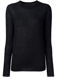 Joseph Fine Knit Crew Neck Sweater Black