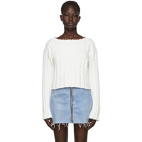 Alexander Wang T By White Raw Edge Off The Shoulder Sweater