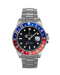 Pre Owned Rolex Stainless Steel Gmt Master Ii Pepsi Bezel Watch With Black Dial 40Mm Black Silver