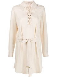 Roberto Cavalli Tie Front Dress Neutrals