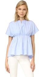 Victoria Beckham Gathered Empire Top Pale Blue