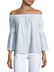 Joe's Jeans Off The Shoulder Embroidered Peasant Blouse Blue Stripe