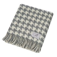 Bronte By Moon Houndstooth Merino Lambswool Throw Grey