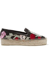 Alexander Mcqueen Leather Trimmed Embroidered Canvas Espadrilles Black