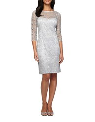 Alex Evenings Three Quarter Sleeve Sequined Lace Illusion Sheath Dress Silver