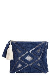 Sole Society Palisades Tasseled Woven Clutch Blue Cobalt