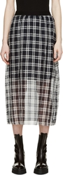 Yang Li Navy And White Sheer Plaid Skirt