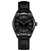 Hamilton H68401735 Men's Khaki Field Date Rubbe Strap Watch Black