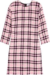 Msgm Open Weave Cotton Tweed Mini Dress Baby Pink