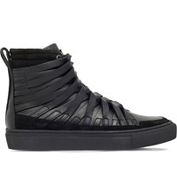 Damir Doma Falco Leather High Top Trainers Black