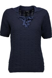 Raoul Lace Up Cotton Blend Top Midnight Blue