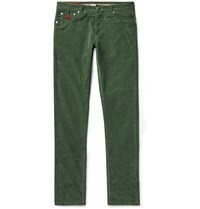 Isaia Slim Fit Cotton Blend Corduroy Trousers Green
