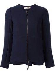 Marni Flared Collarless Jacket Blue
