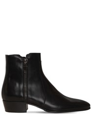 Balmain Anthos Polished Leather Zipped Boots Black