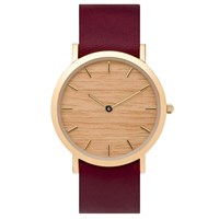 Analog Watch Co. Silverheart Wood Classic With Cherry Leather Strap