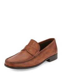 Magnanni Burnished Leather Cross Penny Loafer Medium Brown