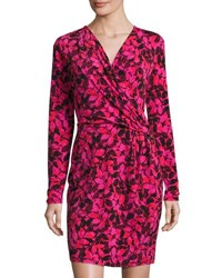 Michael Michael Kors Printed Long Sleeve Faux Wrap Dress Red Pattern