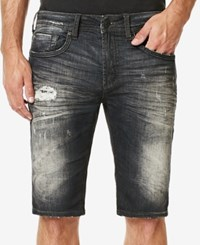 Buffalo David Bitton Men's Parker X Slim Fit Stretch Destroyed Denim Shorts Dark And Sanded