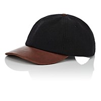 Crown Cap Wool Blend And Leather Baseball Black