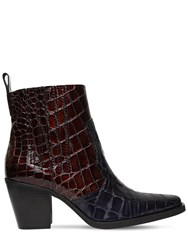 Ganni 70Mm Callie Croc Embossed Leather Boots Navy Brown