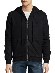 True Religion Moto Zip Front Hoodie Black