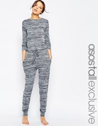 Asos Tall Lounge Jumpsuit In Marl Blue