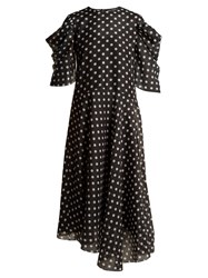 Anna October Puff Sleeve Polka Dot Print Chiffon Dress Black White