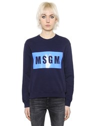 Msgm Panel Logo Cotton Jersey Sweatshirt