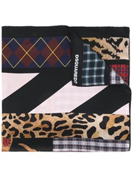 Dsquared2 Mixed Print Scarf Women Silk One Size