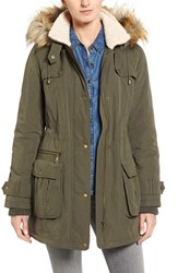 Halogenr Women's Halogen Hooded Anorak With Faux Fur Trim Olive