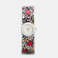 Coach Scout Stainless Steel Printed Leather Inlay Bangle Watch Chalk Floral