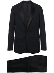 Lanvin Two Piece Dinner Suit Men Silk Polyester Cupro Wool 54 Black